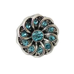 Chunk Snap Charm Petite 12mm Turquoise Crystal Center and Swirl Border