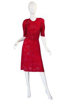 1970s Jean Muir Raspberry Glitter Dress