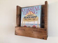 Wall hanging rustic magazine/book holder by BlackIronworks on Etsy
