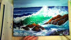 "Part 2: How to Paint a ""Translucent Ocean Wave on the Rocks""- Ginger Coo..."