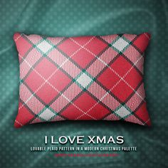 "I LOVE XMAS... ""Lovable plaid pattern in a modern christmas palette""... #christmas, #xmas, #christmassy, #holidays, #december, #winter, #santa, #plaid, #tartan, #celebration, #cushion, #accents, #home #pillow #decorativepillow #zazzle #zazzler #zazzleshop #digitalartcreations"