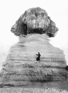 93 years ago the French actress Cécile Sorel is dwarfed by the massive woman headed lion bodied mystery of the ages the Sphinx in Egypt. this photo is from 1924 Egypt Map, Pyramids Egypt, Old Egypt, Ancient Art, Ancient Egypt, Ancient History, Ancient Greek, Old Pictures, Old Photos