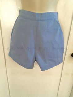 1950s BLUE BELL High Waist Light Blue Shorts with Front Pockets and Back Metal Zipper-XS by FuturaVintage on Etsy
