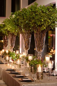 wedding centerpieces Tall wedding centerpieces designed by Edge Design Group GOLD,IVORY AND GREEN wedding centerpieces Winter Wedding Centerpieces, Green Centerpieces, Centerpiece Ideas, Floral Wedding, Fall Wedding, Wedding Flowers, Weeding Planner, Flower Decorations, Wedding Decorations
