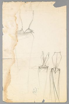 Sketch, Charles James, 1947; paper, graphite, wax.  -The Metropolitan Museum of Art  2009.300.3597