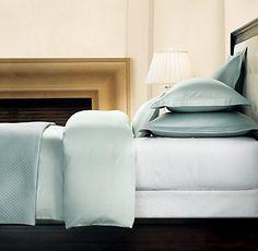Master Bedroom: Restoration Hardware DIAMOND MATELASSÉ shams and coverlet, Light Silver Sage