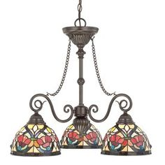 Cascadia Lighting Larissa 3-Light Vintage Bronze Tiffany-Style Chandelier
