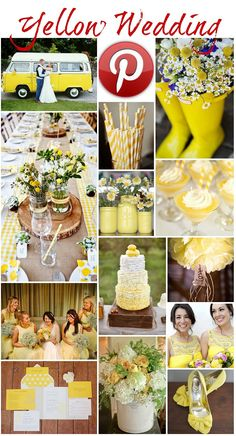 Yellow wedding: bright, friendly vibe, preferably paired with navy or gray. For summer.