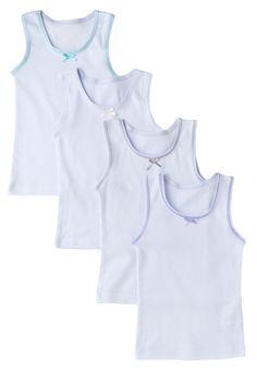 Girls Undershirt 4 Pack 100% Cotton White Tank Tops