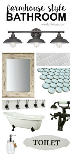 Really like the light fixture for the bathrooms! Want to replicate the popular farmhouse style bathroom? Here are some great tips on what to buy to get that great Fixer Upper farmhouse style decor! Beautiful Bathrooms, Modern Bathroom, Small Bathroom, Bathroom Ideas, Farmhouse Bathroom Accessories, Relaxing Bathroom, Bathroom Closet, Bath Ideas, Bathroom Remodeling