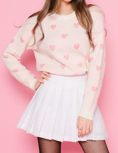 "milkeu: """"mixxmix.us heart pattern knit sweater classic pleat tennis skirt "" """
