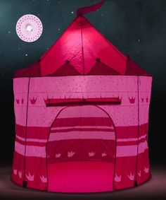 Princess Castle Play Tent LED Light ,Glow in the Dark Stars Girl Playhouse Pink  #SueSport