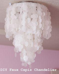 Faux Capiz Chandelier... Will look great in my little girls bedroom!!!
