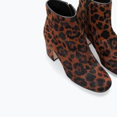 HIGH HEELED PRINTED LEATHER BOOTIE from Zara