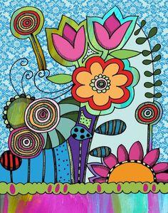 Lollipop Garden by Beth Nadler Art Floral, Watercolor Flowers, Watercolor Paintings, Curly Girls, Mosaic Diy, Doodle Designs, Flower Doodles, Flowers Nature, Painting Inspiration