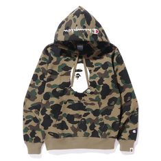 """397f5be633d3 BAPE STORE® SHIBUYA OFFICIAL on Instagram  """"CHAMPION 1ST CAMO PULLOVER  HOODIE (GREEN"""