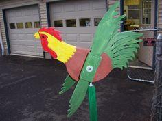 Handmade Handpainted Wooden Rooster Whirligigs