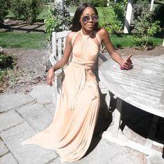 Stunner @tiffany.osh looking amazing in our 'Geneva Multiway Nude Maxi Dress'   Shop: emprada.com