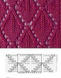 Knitting pattern ❤ Узор спицами ❤ strickmuster ❤ tricot ❤ how to knit ❤ tricô ❤ örgü deseni बुनना Lace Knitting Stitches, Lace Knitting Patterns, Knitting Charts, Lace Patterns, Knitting Socks, Baby Knitting, Stitch Patterns, Drops Design, Gilet Crochet
