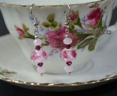 Pink And Garnet With Red Rose Dangle Earrings by WotNotLots, $10.00