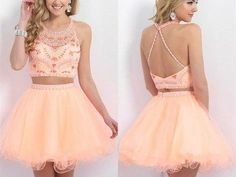 Uhc0024, Two Pieces, 2017 hot sale Homecoming Dress ,Spaghetti Strap, Backless, Graduation Dresses, Halter Prom Gowns, Sparkle Beading short prom dresses