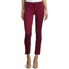 DL 1961 Premium Denim Margaux Ankle Skinny Jeans ($110) ❤ liked on Polyvore featuring jeans, ruby, skinny leg jeans, zipper jeans, purple jeans, dl1961 premium denim and cropped skinny jeans