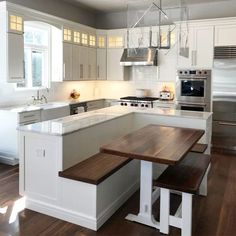 24 Best Kitchen Island Ideas Finally In One Place Big Kitchen Island With Bench Seating Kitchen island design ideas: anything on the scale. Big Kitchen, Home Decor Kitchen, Interior Design Kitchen, Kitchen Dining, Small Kitchen With Island, Awesome Kitchen, Small Island, Kitchen Booths, Kitchen Designs