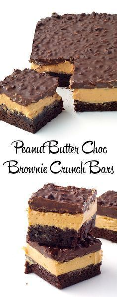 Peanut Butter Chocolate Brownie Crunch Bars - Sweetest Menu - - Peanut Butter Chocolate Brownie Crunch Bars with a cocoa brownie base, a creamy peanut butter filling and a crispy chocolate topping made with Rice Bubbles. Chocolate Peanut Butter Brownies, Peanut Butter Desserts, Chocolate Topping, Chocolate Ganache, Chocolate Crunch Cake Recipe, Vegan Chocolate, Bon Dessert, Dessert Bars, Just Desserts
