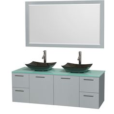 "Amare 60"" Double Bathroom Vanity Set with Mirror"