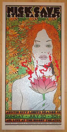 2014 Nick Cave - Austin Silkscreen Concert Poster by Chuck Sperry