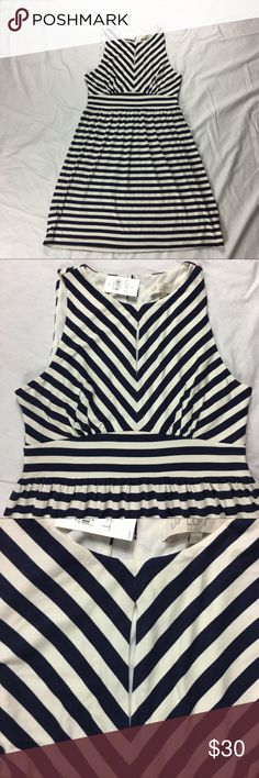 Ann Taylor Loft mitered stripe keyhole dress Ann Taylor Loft white navy blue mitered stripe keyhole sleeveless stretch dress   Women's Size: XS   97% viscose, 3% spandex; lined bodice: 100% polyester   Machine washable   Approx measurements: armpit to armpit – 31 inches; length – 30 inches;   New with tags – see pictures LOFT Dresses