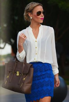 cobalt skirt & white blouse
