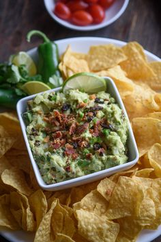This sun dried tomato bacon guacamole recipe is my current snack addiction. All our toppings come together for the perfect sweet, salty, crunchy, tangy, creamy bite! Fun Easy Recipes, Easy Appetizer Recipes, Best Appetizers, Healthy Dinner Recipes, Healthy Snacks, Delicious Recipes, Endive Recipes, Avocado Recipes, Fruit Recipes