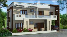 #duplexhousedesign Modern Exterior House Designs, Latest House Designs, Modern House Design, Exterior Design, Building Design, Building A House, White Building, Dream House Plans, Modern House Plans