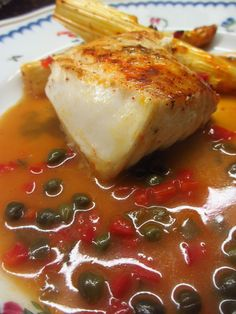 Pan fried Northern Halibut fillet with roasted white asparagus and a Piccata sauce with Jalapeno , capers, red peppers and Tequila!!!