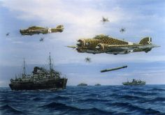 Operation Pedestal by Barry Weekley - Operation Pedestal was a British operation to get desperately needed supplies to the island of Malta in August during the Second World War. Here a Savoia-Marchetti torpedo's the convoy BFD Ww2 Aircraft, Fighter Aircraft, Military Aircraft, War Thunder, Aircraft Painting, Airplane Art, Mobile Art, Ww2 Planes, Vintage Airplanes