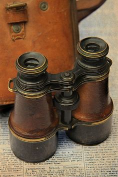 Vintage leather covered binoculars brown