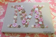 Nursery Wall Art Button Letter M by letterperfectdesigns on Etsy