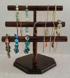 Rustic Wooden 2 Tier TBar Bracelet Display Vintage Necklace