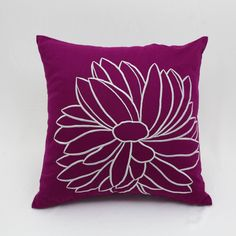 Purple Flower Embroidery Throw Pillow Cover Floral Home Decor #Etsy https://etsy.me/2jlGiia #KainKain #pillow #embroiderypillow #handmadepillow #purplethrowpillow #custompillow #linenpillow #homededor #floralpillow #flowerpillow #cushion #couchpillow