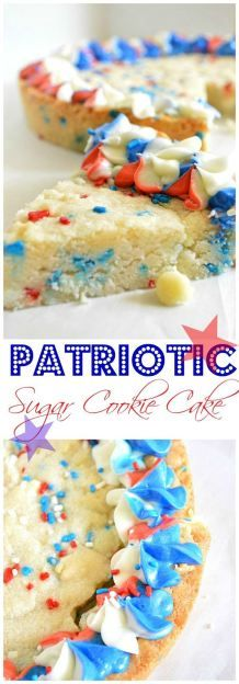 Celebrate Memorial Day with this Patriotic Sugar Cookie Cake.  This sugar cookie cake is loaded with white chocolate chips and red white and blue sprinkles!  Topped with a tri-color swirled buttercream frosting!
