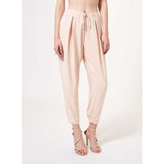Miss Selfridge Nude Luxe Jogger ($53) ❤ liked on Polyvore featuring activewear, activewear pants, nude and miss selfridge
