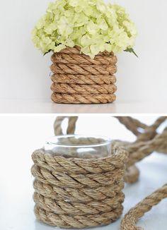 Sylinterimaljakko päällystetty paksulla manillaköydellä. Meriteema. / Nautical Rope Vase | DIY Wedding Centerpieces on a Budget