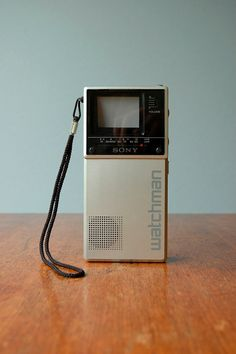 Vintage Sony Watchman portable television with case, model FD-20A.