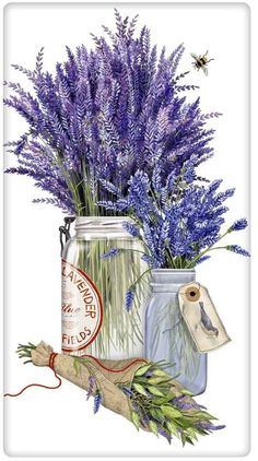New Mary Lake Thompson Herb Jar Lavender Bee Kitchen Flour Sack Towel Nuevo Mary Lake Thompson Hierba Tarro Lavanda Abeja Cocina Toalla saco de harina Decoupage Vintage, Decoupage Paper, Vintage Diy, Images Vintage, Photo Vintage, Dish Towels, Tea Towels, Work Horses, Flower Art