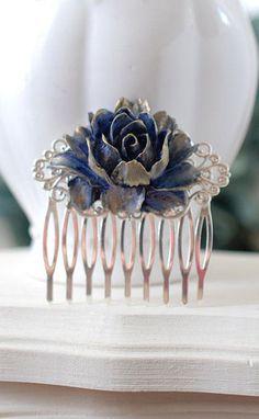 Bridal Hair Comb, Gold Navy