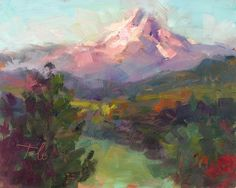 Rise and Shine - Oregon's Mt. Hood in early morning; Painting & Fine Art Prints by Talya Johnson