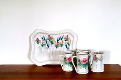 Cooper Pottery UK Floral Mug and Platter Party by ArtExtraction