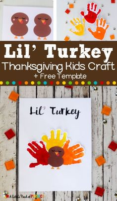 This Lil' Turkey Handprint Craft includes a Free Template and is perfect for making Thanksgiving memories with kids. Make this adorable artwork with your little one to keep them busy while your holiday meal bakes. It makes a really cute decoration! Daycare Crafts, Classroom Crafts, Baby Crafts, Toddler Crafts, Preschool Crafts, Kids Crafts, Craft Kids, Toddler Art, Family Crafts