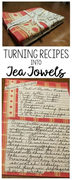 Turning Recipes into Tea Towels - a great idea to create a custom gift this holiday season with a sentimental touch. Turning Recipes into Tea Towels - a great idea to create a custom gift for someone special this holiday season with a sentimental touch. Wine Bottle Crafts, Mason Jar Crafts, Mason Jar Diy, Wine Bottles, Little Presents, Sewing Projects For Beginners, Diy Christmas Gifts, Xmas, Christams Gifts